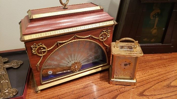 Fan clock/Swiss Faberge carriage clock