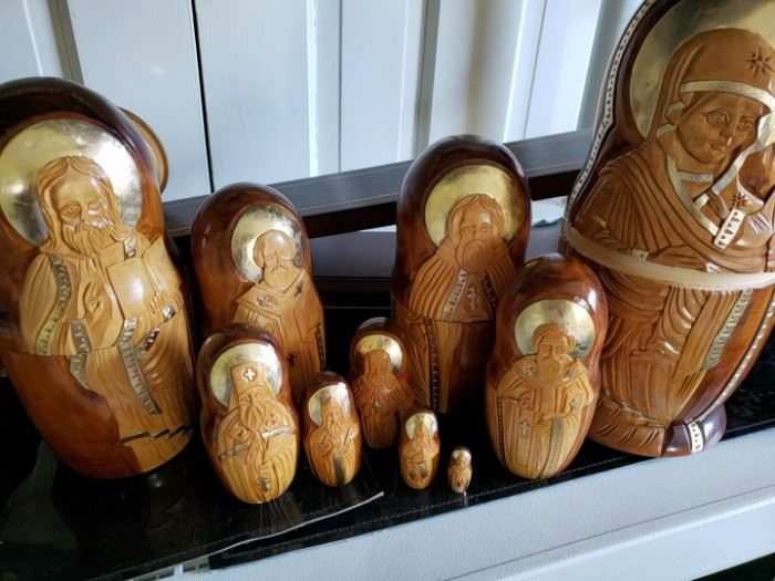 Hand Carved Russian nesting dolls