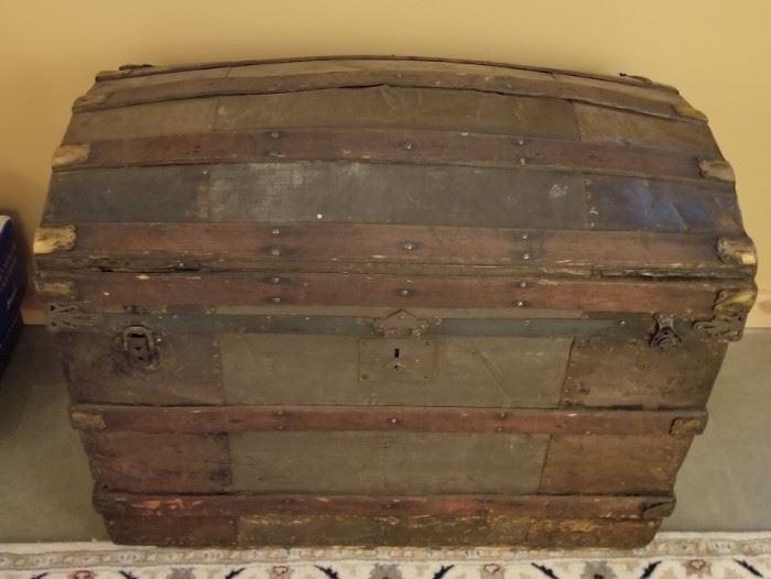 Antique Camelback Camelback Steamer Trunk