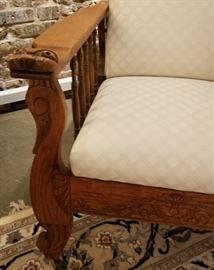 Antique Carved Oak Morris Chair Arm Detail