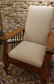 Antique Carved Oak Morris Chair a