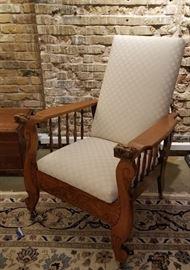Antique Carved Oak Morris Chair