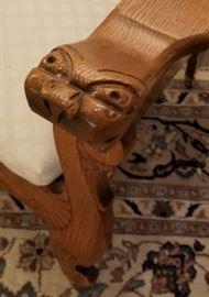 Antique Carved Oak Morris Chair Lions Head