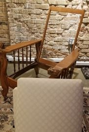 Antique Carved Oak Morris Chair Cushions Off