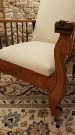 Antique Carved Oak Morris Chair b