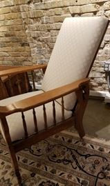 Antique Carved Oak Morris Chair Reclined