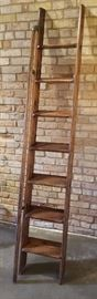 Antique Oak Library Ladder a