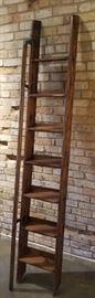 Antique Oak Library Ladder