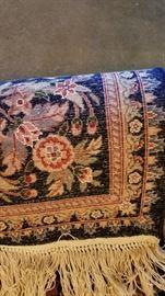 Area Rug Wool Deep Blue Underside