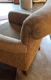 Arm Chair and Ottoman Rolled Back Accent