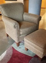 Arm Chair and Ottoman Side View