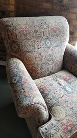 Arm Chair Tapestry Pattern Side