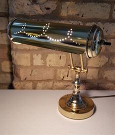 Brass Desk Lamp Pierced Shade
