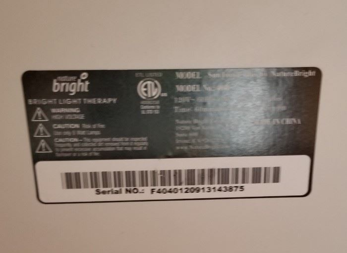 Bright Light Therapy Lamp Label