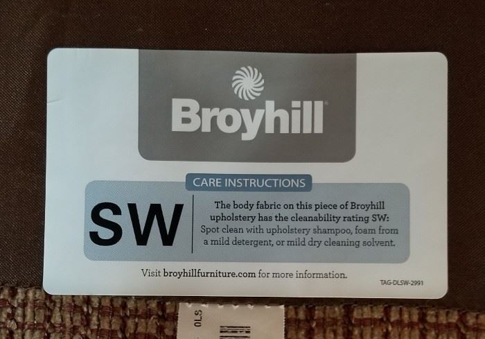 Broyhill Couch Sofa Label