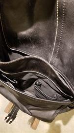 Coach Black Leather Messenger Bag A Pockets