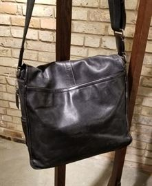 Coach Black Leather Messenger Bag B Back
