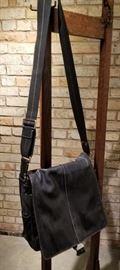 Coach Black Leather Messenger Bag B Side