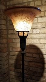 Floor Lamp Mottled Shade Torchiere Lit as is