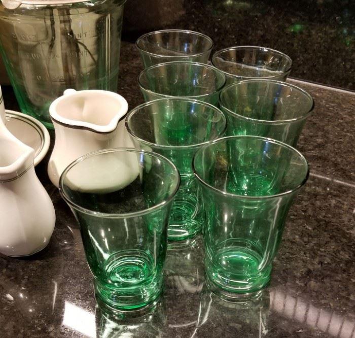 Green Depression Juice Glasses