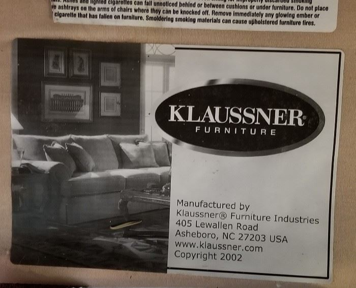 Klaussner Couch Label