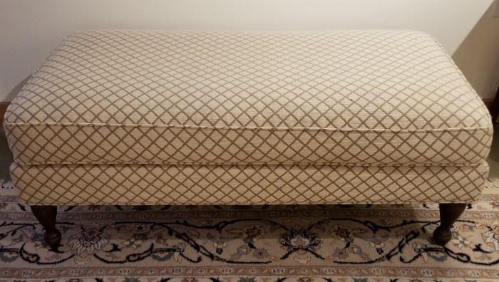 Ottoman Cream and Taupe Diamond Pattern Rectangular