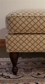 Ottoman Cream and Taupe Diamond Pattern Leg
