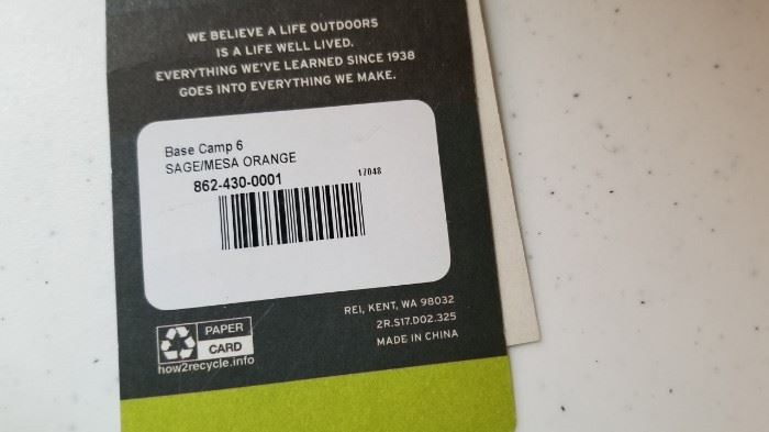 REI Base Camp 6 Tent Label