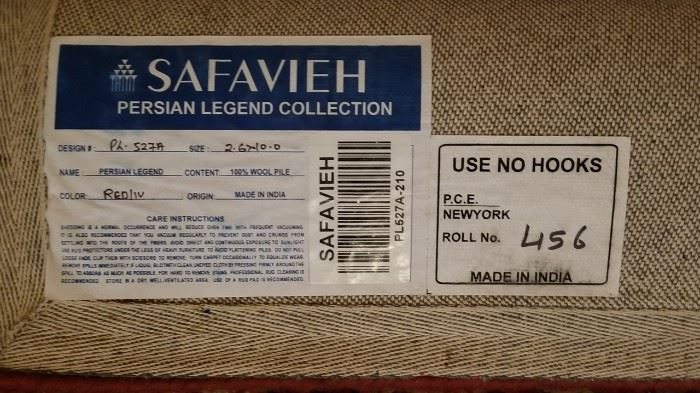 Safavieh Wool Runner Label