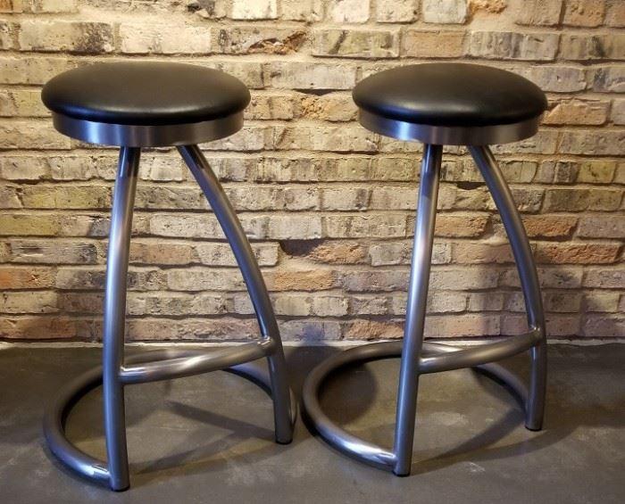 Steel Bar Stool Black Seat Swivel Base Pair