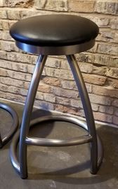 Steel Bar Stool Black Seat Swivel Base