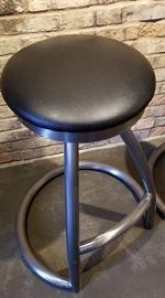Steel Bar Stool Black Seat Top