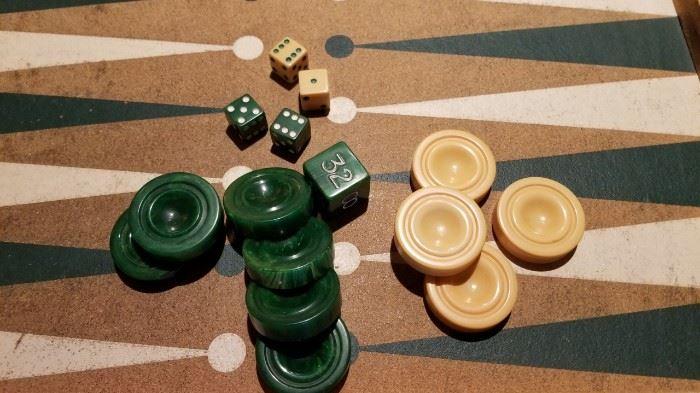 Vintage Bakelite Backgammon Chips and Dice