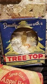 Vintage Christmas Decor Angel Hair Tree Topper