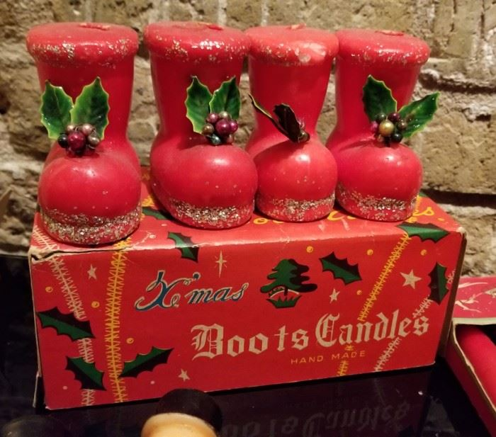 Vintage Christmas Novelty Candle Boots