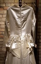 Vintage Ivory Satin Wedding Gown Button Back
