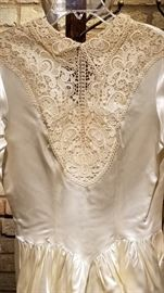 Vintage Ivory Satin Wedding Gown Lace and Pearl Accent Bodice