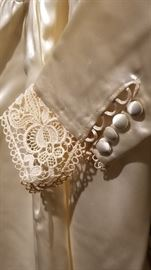 Vintage Ivory Satin Wedding Gown Lace Cuff and Buttons