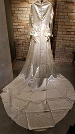 Vintage Ivory Satin Wedding Gown Train