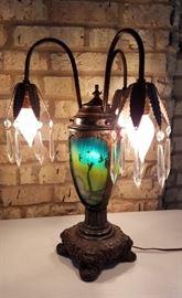 Vintage Reverse Painted Table Lamp Lit