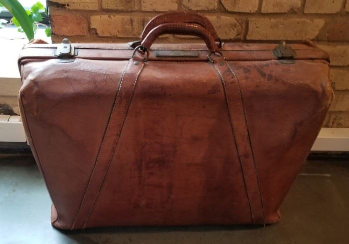 Vintage Suitcase Back with Cunard Sticker