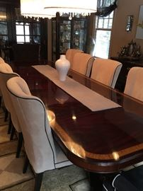 Mitchell Gold Chairs   Fantastic inlaid dining table easily being able to extend to banquet size as needed.