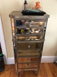 Tall mirrored jewelry chest
