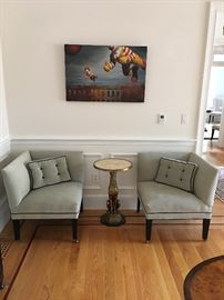 Mitchell Gold chairs. Brass and Marble Greyhound Table.  Contemporary Art.