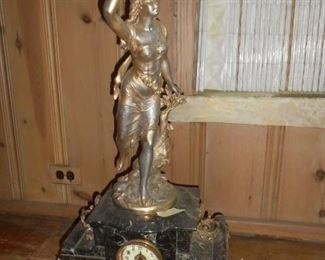 Approx 2' Vintage lady clock with heavy marble base