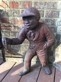 "Vintage cast iron unpainted lawn jockey ""Jocko"" African-Americana, RARE.  Do you know the story of Jocko Graves?"