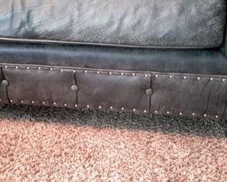 Bernhardt Gray Leather nail-head trim tufted extra long sofa