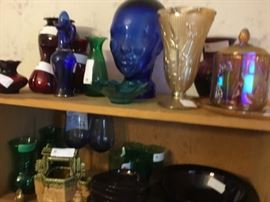 McCoy, funky blue glass head, opalescent glass and more