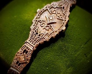 antique sterling filigree and diamonds bracelet
