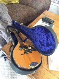 VINTAGE MANDOLIN AND CASE-MAYBE WALL ART?